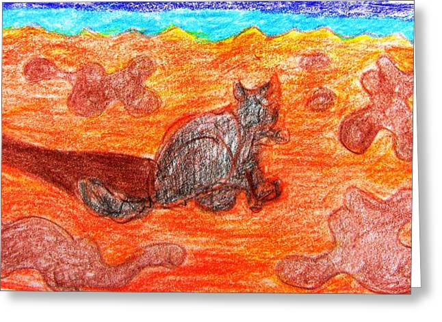 Sandy Beaches Drawings Greeting Cards - Cat on the Beach Greeting Card by Anita Dale Livaditis