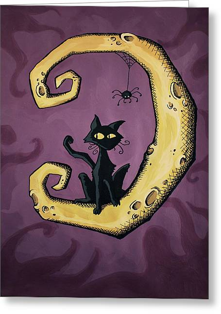 Cat On The Moon Greeting Card by Sara Coolidge