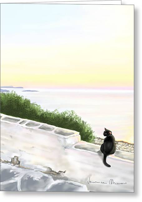 Sunset Seascape Greeting Cards - Cat on the port Greeting Card by Veronica Minozzi