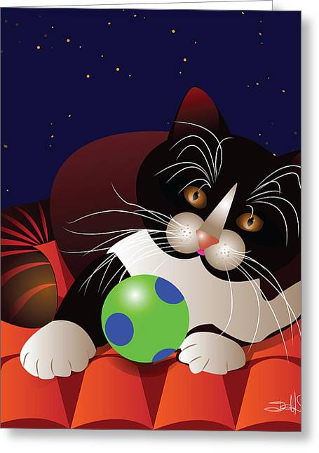 Starry Digital Art Greeting Cards - Cat On The Roof Greeting Card by Isabel Salvador