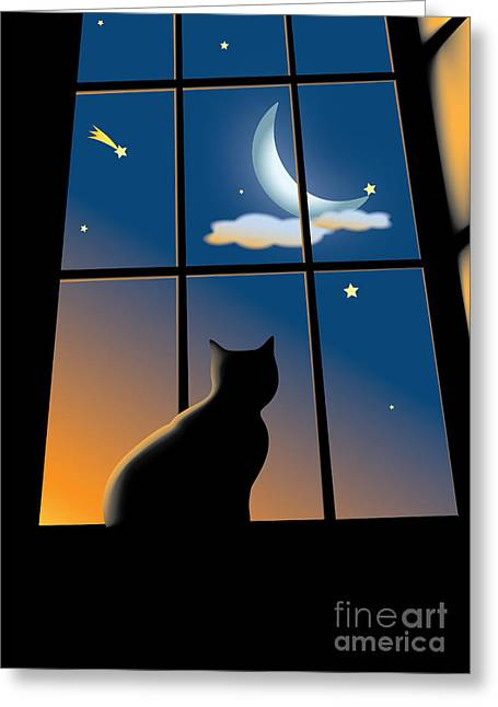 Frame House Digital Greeting Cards - Cat On The Window Greeting Card by Aleksey Tugolukov