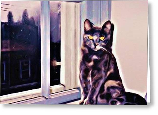 Johnmaloneartist.com Greeting Cards - Cat on Window Sill Greeting Card by John Malone