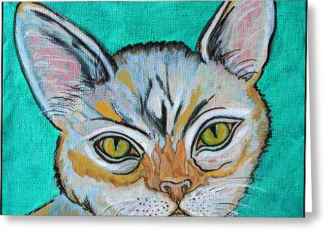 Pop Mixed Media Greeting Cards - Cat Painting - Quick Silver Tabby Greeting Card by Ella Kaye Dickey