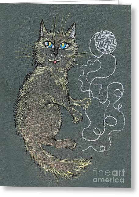 Cat Drawings Greeting Cards - Cat Playing With Wool Greeting Card by Angel  Tarantella