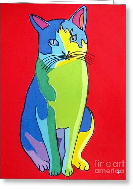 Pictures Of Cats Mixed Media Greeting Cards - Cat Pop Art Portrait Greeting Card by Venus