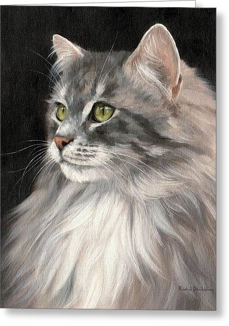 Feline Art Greeting Cards - Cat Portrait Painting Greeting Card by Rachel Stribbling