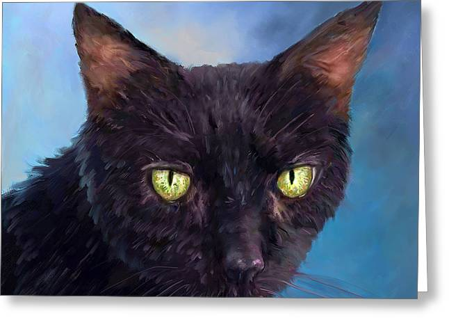 Tiere Greeting Cards - Cat Pet Portraits by NC - Green Eyes Greeting Card by Enzie Shahmiri