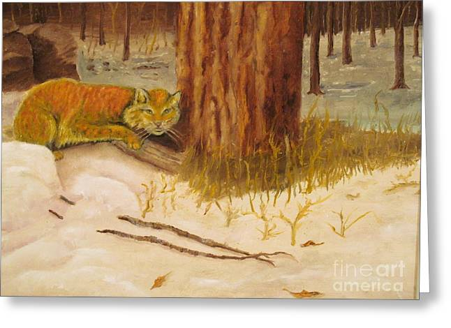 Animal Art Greeting Cards - Cat Prey on Bird Oiginal Oil Painting Greeting Card by Anthony Morretta