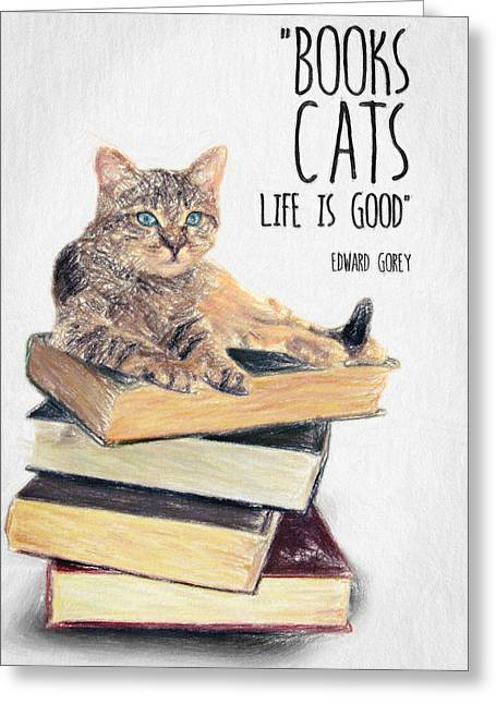 College Drawings Greeting Cards - Cat Quote By Edward Gorey Greeting Card by Taylan Soyturk