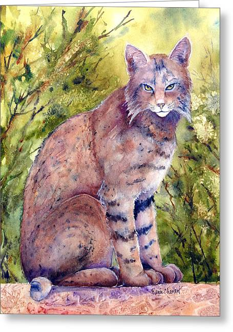 Bobcats Paintings Greeting Cards - Cat-r-Walling Greeting Card by Renee Chastant