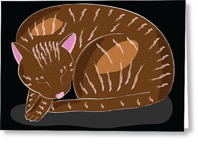 Cat Greeting Card by Sara Ponte