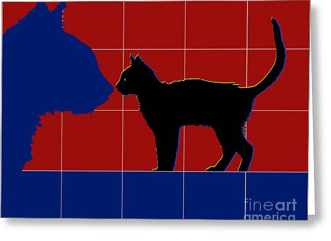 Dressing Room Digital Art Greeting Cards - Cat Shadow Greeting Card by Roby Marelly