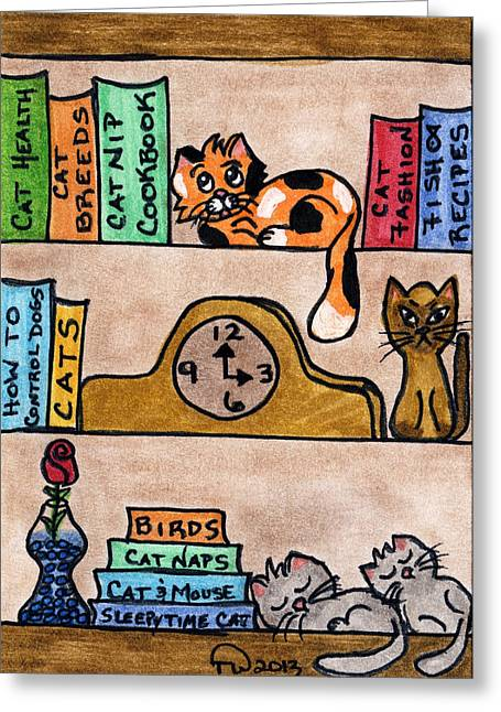 Acrylic Art Greeting Cards - Cat Shelves Greeting Card by Tambra Wilcox