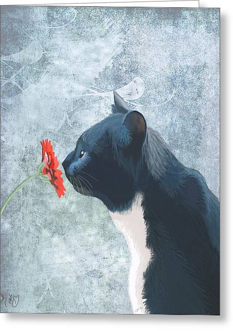 Cat Prints Digital Art Greeting Cards - Cat sniffing a flower Greeting Card by Kelly McLaughlan