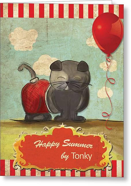 Ying Greeting Cards - Cat Summer Greeting Card by Barbara Ki