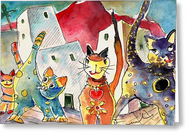 Cat Town In Lanzarote Greeting Card by Miki De Goodaboom