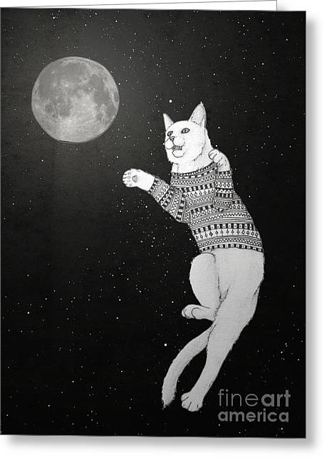 Cat Drawings Greeting Cards - Cat trying to catch the Moon Greeting Card by Barruf