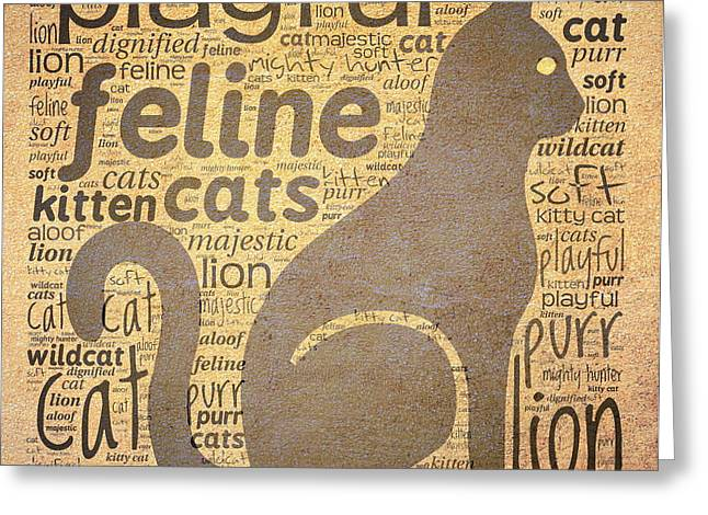 Cat Typography Greeting Card by Terry Fleckney