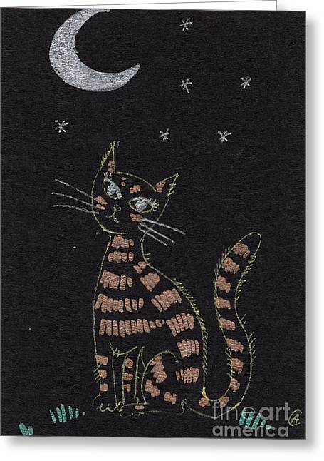 Cat Drawings Greeting Cards - Cat under the moonlight Greeting Card by Angel  Tarantella