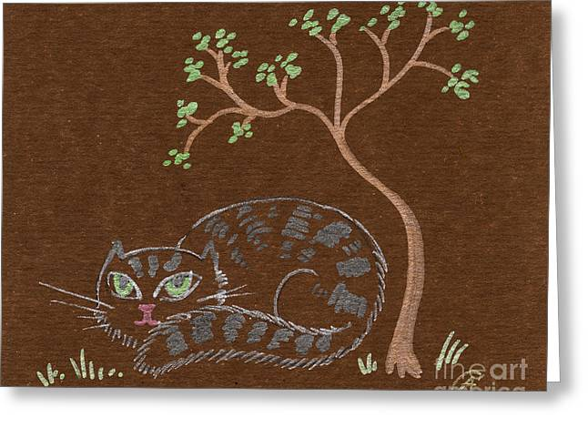 Cat Drawings Greeting Cards - Cat under the tree Greeting Card by Angel  Tarantella
