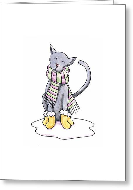 Striped Drawings Greeting Cards - Cat Wearing Scarf Greeting Card by Christy Beckwith