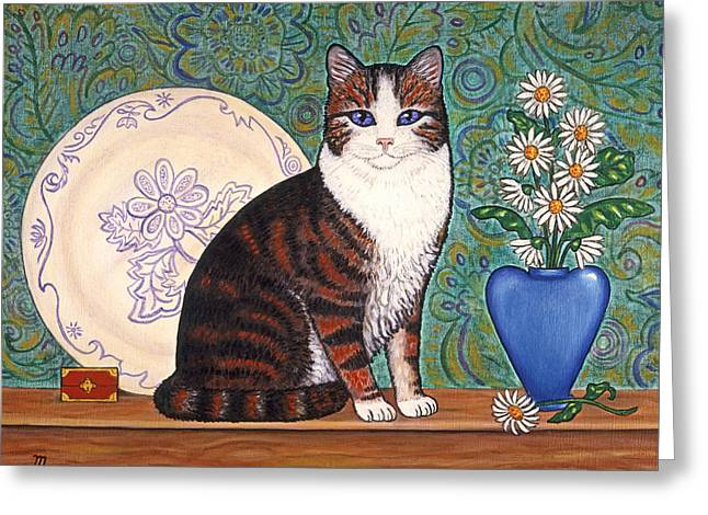 Folk Art Greeting Cards - Cat With Daisies Greeting Card by Linda Mears