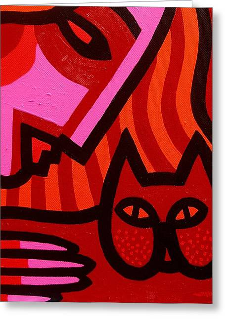 Movement Greeting Cards - Cat Woman Greeting Card by John  Nolan