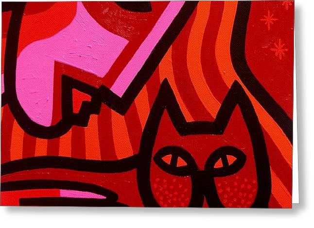 Emotive Paintings Greeting Cards - Cat Woman Greeting Card by John  Nolan