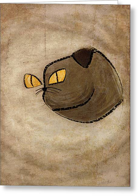 Ying Drawings Greeting Cards - Cat yang Greeting Card by Barbara Ki