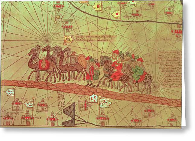 Catalan Atlas, Detail Showing The Family Of Marco Polo 1254-1324 Travelling By Camel Caravan, 1375 Greeting Card by Spanish School