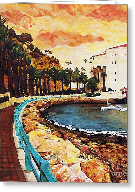 Boats In Water Greeting Cards - Catalina Island Greeting Card by Carrie Jackson