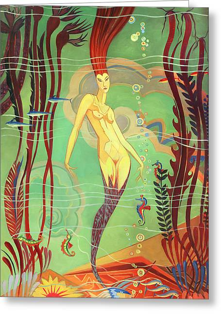 Abalone Greeting Cards - Catalina Island Mermaid  Greeting Card by Ricardo Alvarez