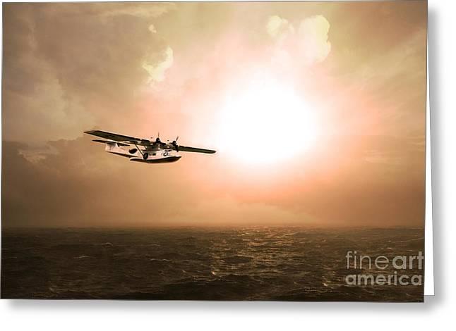 Pby Catalina Greeting Cards - Catalina Sunrise Greeting Card by J Biggadike