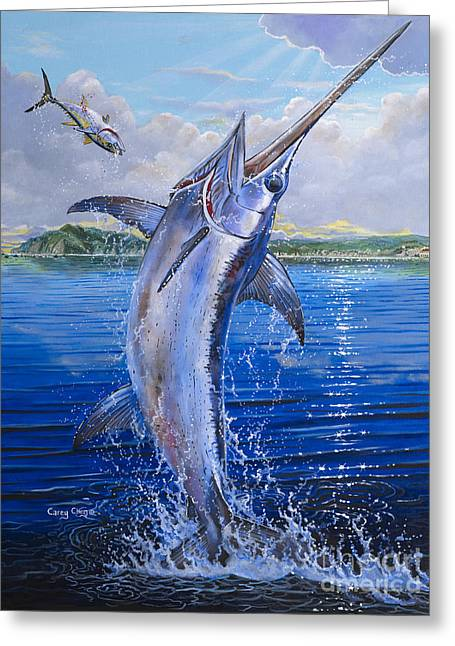 Striped Marlin Paintings Greeting Cards - Catalina Sword OFF0045 Greeting Card by Carey Chen