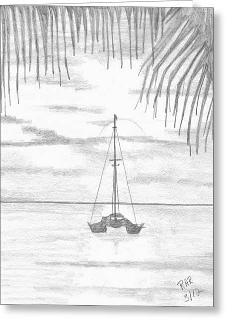 Catamaran Greeting Cards - Catamaran at Sunset Greeting Card by Ray Ratzlaff