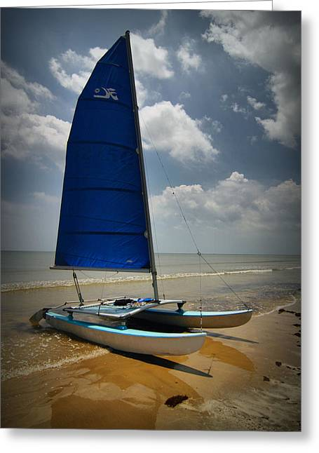 On The Beach Digital Greeting Cards - Catamaran Greeting Card by Linda Unger