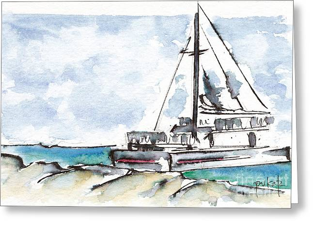 Viridian Greeting Cards - Catamaran On Fury Beach Greeting Card by Pat Katz