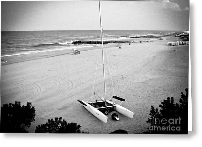 Catamaran Greeting Cards - Catamaran on the Beach Greeting Card by Colleen Kammerer