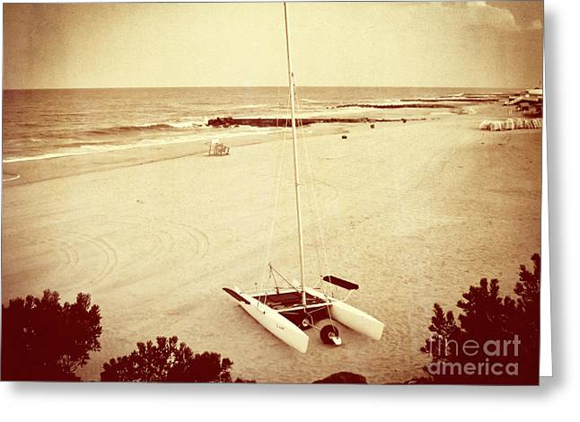 Catamaran Greeting Cards - Catamaran on the Beach - Vintage Greeting Card by Colleen Kammerer