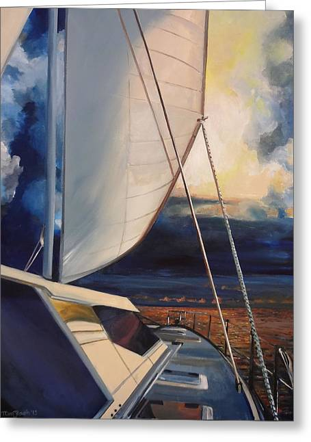 Catamaran Greeting Cards - Catamaran Sunset Greeting Card by Terry Cox Joseph