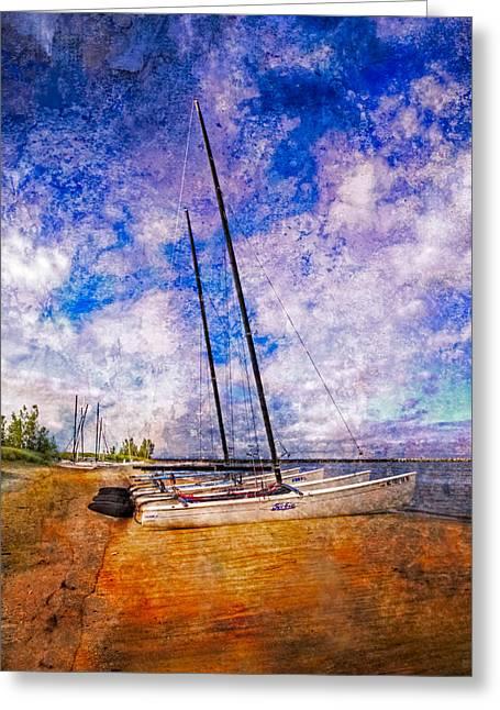 Canoe Photographs Greeting Cards - Catamarans at the Lake Greeting Card by Debra and Dave Vanderlaan