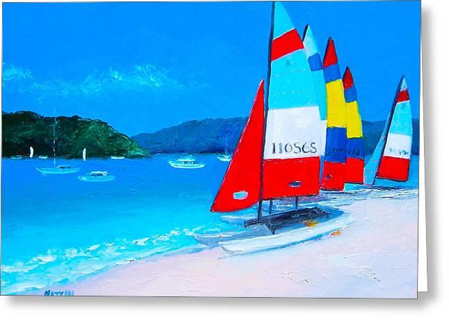 Catamaran Greeting Cards - Catamarans beach painting Greeting Card by Jan Matson