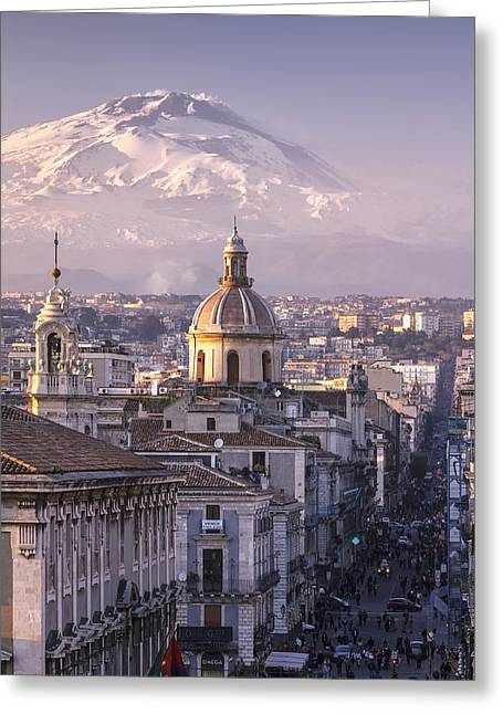 Row Of Houses Greeting Cards - Catania and Mt. Etna Greeting Card by Antonio Violi