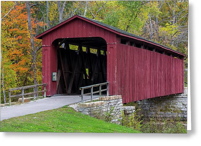 Cataract Covered Bridge Over Mill Creek Greeting Card by Chuck Haney