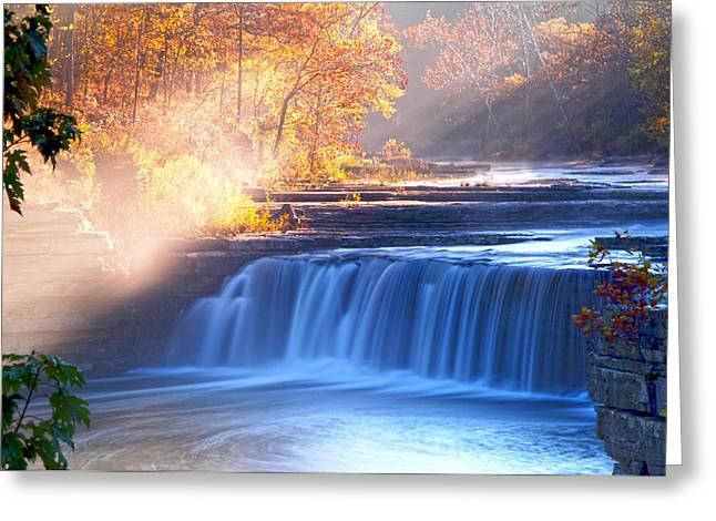 Indiana Autumn Greeting Cards - Cataract Falls Indiana Greeting Card by Randall Branham