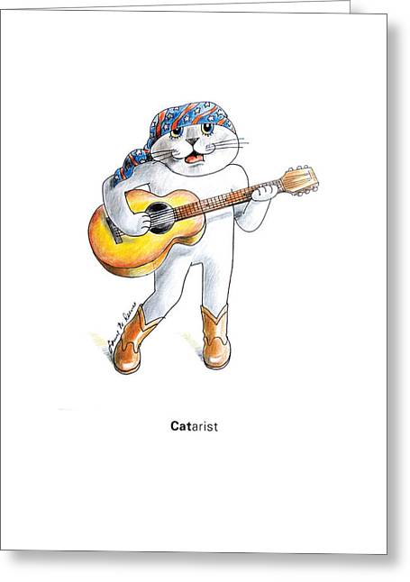 Patriotic Pastels Greeting Cards - CATarist Greeting Card by Louise McClain Reeves