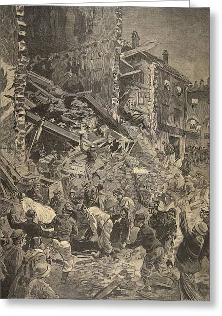 Catastrophe In Biot, Illustration Greeting Card by French School