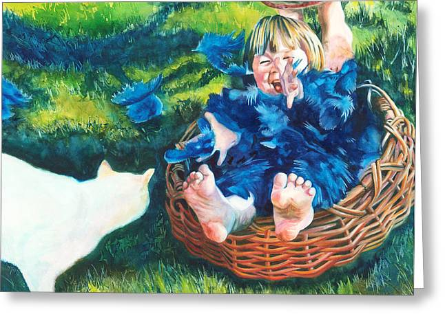 Cat With A Basket Greeting Cards - Catbird Seat Greeting Card by Maureen Dean