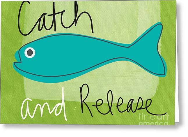 White River Mixed Media Greeting Cards - Catch and Release Greeting Card by Linda Woods