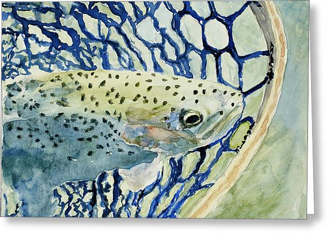Rainbow Trout Greeting Cards - Catch and Release Greeting Card by Mary Benke